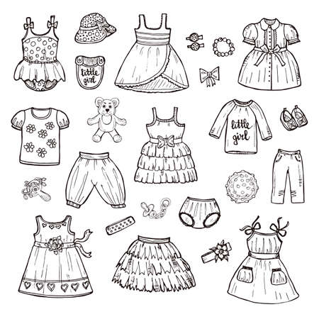 clothes clips: Set of cute hand drawn clothes for baby girl including dresses, shirts, shoes, hair clips, skirt, shorts and others. Childish clothes collection. Vector