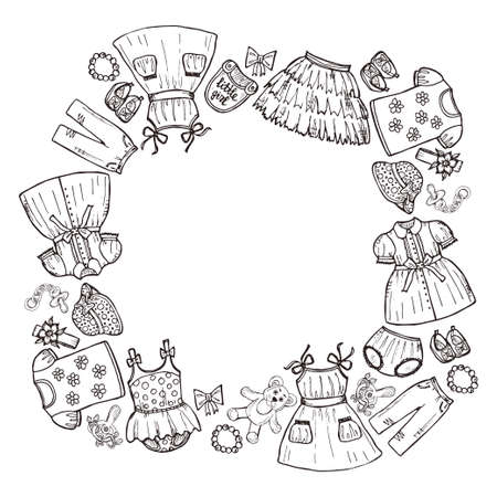 clothes clips: Frame with hand drawn clothes for baby girl including dresses, shirts, shoes, hair clips, skirt, shorts and others. Childish clothes collection. Vector