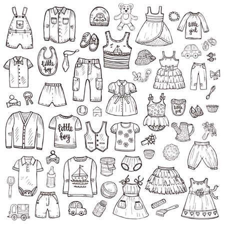 Big ensemble de vêtements et de jouets dessinés à la main pour les bébés mignons. Collection enfantine. Vecteur Vecteurs