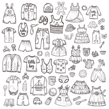 Big set of cute hand drawn clothes and toys for babies. Childish collection. Vector