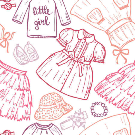clothes clips: Seamless pattern with cute hand drawn clothes for baby girl including dresses, shoes, hair clips, and others. Childish clothes collection. Vector Illustration