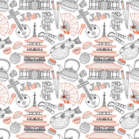 Naadloos patroon met Japanse gerelateerde hand getekende iconen waaronder pagode, theepotten, voedsel, fugu vis en anderen. Doodle vector Japanse gerelateerde collectie