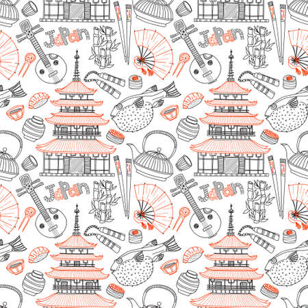 Seamless pattern with Japanese related hand drawn icons including pagoda, teapots, food, fugu fish and others. Doodle vector Japanese related collection Illustration