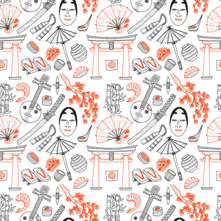 torii: Seamless pattern with Japanese related hand drawn icons including sakura, torii, food and others. Doodle vector Japanese related collection Illustration