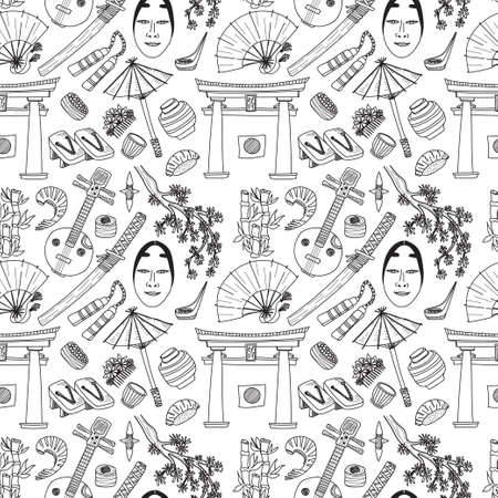 torii: Seamless pattern with Japanese related hand drawn icons including sakura, food, torii and others. Doodle vector Japanese related collection Illustration
