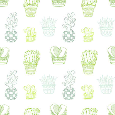 house plants: Seamless pattern with cute hand drawn cactuses and succulents. Doodle collection of house plants. Vector
