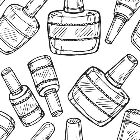 nailpolish: Seamless pattern with cute hand drawn collection of nail polish. Vector