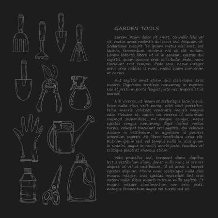 crop sprayer: Hand drawn card template with hand drawn garden tools. Vector collection