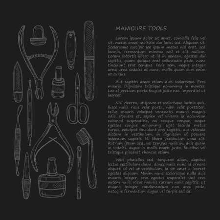 cuticle pusher: Hand drawn card template with manicure tools including scissors, nail polish, nail clippers, pushers and others. Vector hand drawn manicure collection.