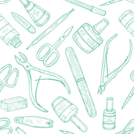 cuticle: Seamless pattern with manicure equipment and accessories. Hand drawn vector manicure collection. Illustration