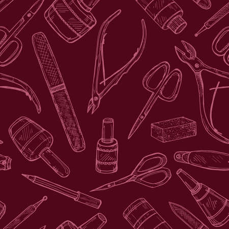 Seamless pattern with manicure equipment and accessories. Hand drawn vector manicure collection. Illustration