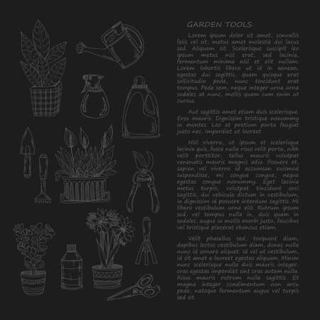 hand trowel: Hand drawn card template with garden tools and house plants. Vector collection