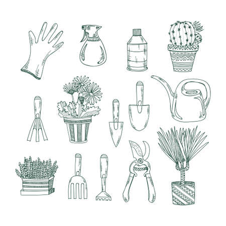 crop sprayer: Set of hand drawn garden tools and house plants. Vector collection