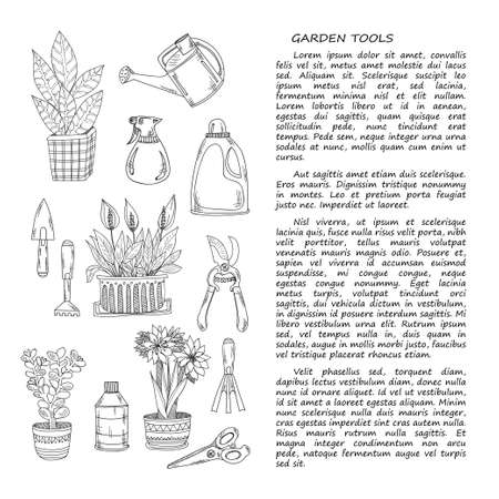 crop sprayer: Hand drawn card template with garden tools and house plants. Vector collection