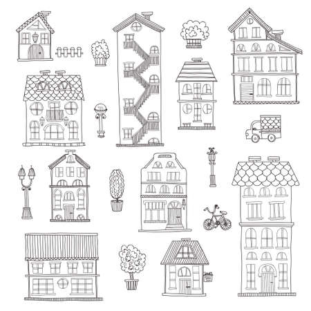 city lights: Set of cute hand drawn houses, street lights and trees . Vector city street collection