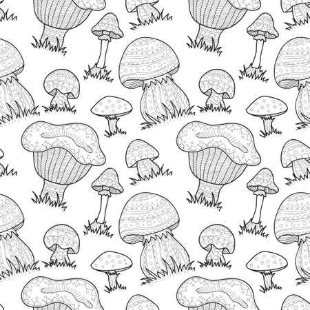 anti season: Seamless pattern with cute hand drawn abstract mushrooms. Vector ornamental mushrooms collection