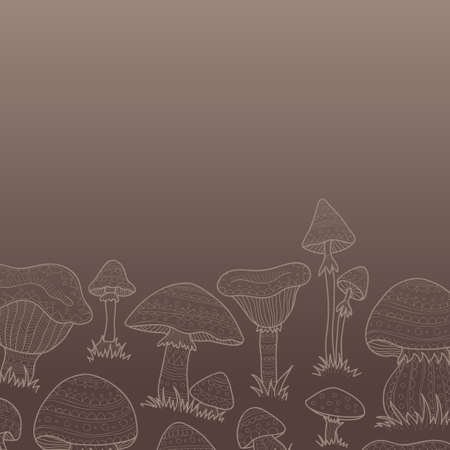 anti season: Composition with cute hand drawn abstract mushrooms. Vector ornamental mushrooms collection Illustration
