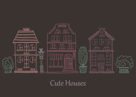 streetlight: Card template with cute hand drawn houses. Vector city street collection