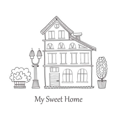 streetlight: Card template with cute hand drawn house. Vector city street collection Illustration