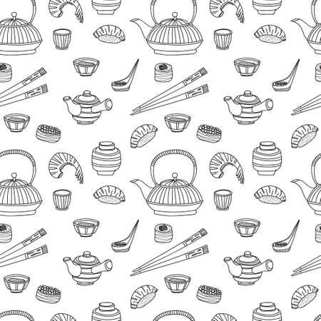 Naadloos patroon met Japanse gerelateerde hand getekende iconen waaronder theepotten en voedsel. Doodle vector Japanse gerelateerde collectie