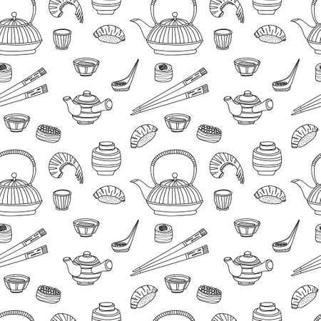 Seamless pattern with Japanese related hand drawn icons including teapots and food. Doodle vector Japanese related collection