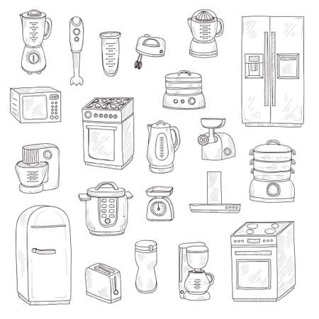 kitchen appliances: Set of cute kitchen appliances. kitchen collection Illustration
