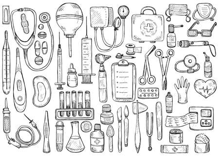 suppositories: Big medical set including equipment , medical tools and drugs.  medical collection Illustration