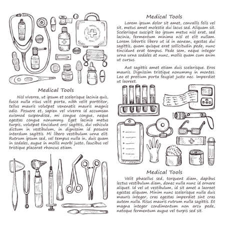 suppositories: medical card template including equipment , medical tools and drugs. medical collection Illustration