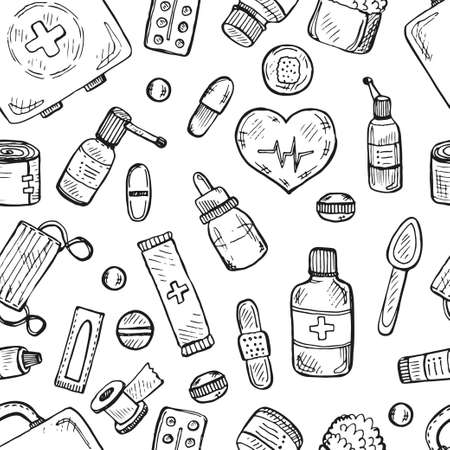 suppositories: Seamless pattern with cute medical icons. medical collection