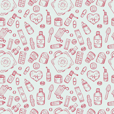 suppositories: Seamless pattern with cute  medical icons. medical collection Illustration