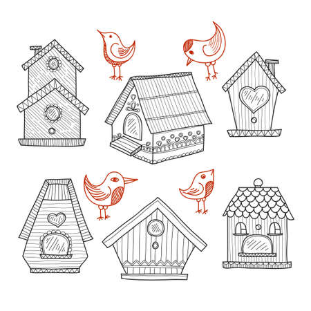 nestling: Set of cute hand drawn houses for birds. collection Illustration