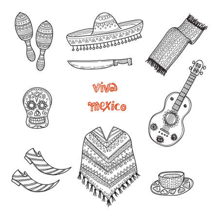 poncho: Set of Mexico related  icons including guitar, maracas, poncho, food, mask and others. Doodle Mexico related collection Illustration