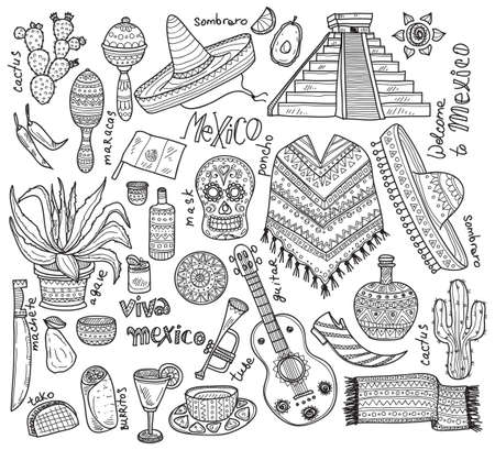 cactus cartoon: Big set of Mexico related  icons including pyramid, maracas, poncho, food, cactuses and others. Doodle Mexico related collection