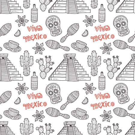 pyramid of the sun: Seamless pattern with Mexico related icons. Doodle Mexico related collection