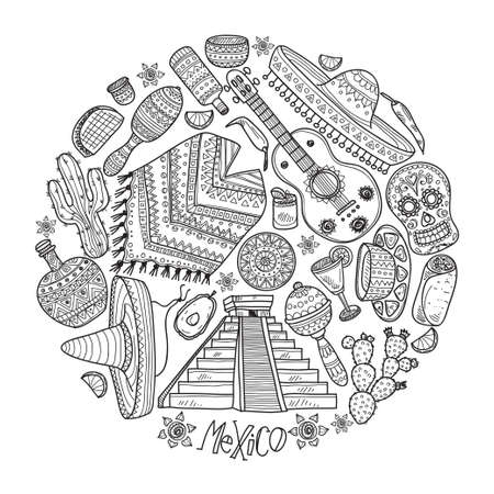 latinoamerica: Perfect circle composition with  Mexico related  icons including pyramid, maracas, poncho, food, cactuses and others. Mexico card template. Illustration