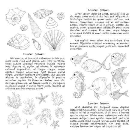 oceanside: card template with fish, sea shells and algae.