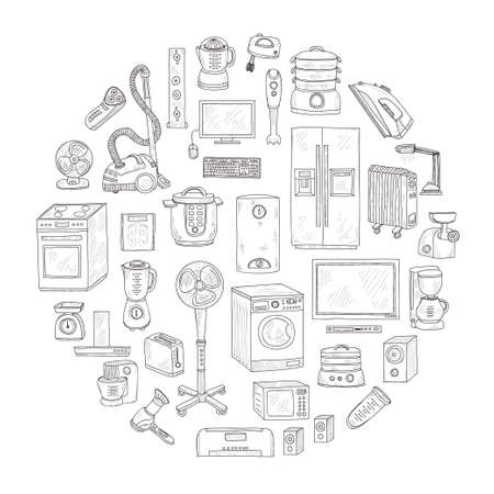 Round composition with cute hand drawn house appliances. Vector appliances collection Illustration
