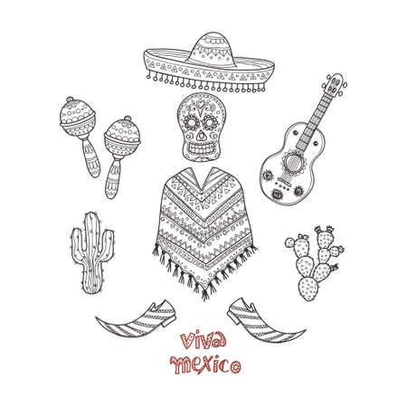 etnia: Conjunto de iconos dibujados a mano relacionados con México, incluyendo maracas, poncho, cactus y otros. colección de vectores relacionados con Doodle México Vectores