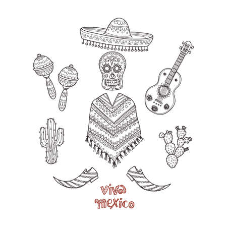 Set of Mexico related hand drawn icons including maracas, poncho, cactuses and others. Doodle vector Mexico related collection Illustration