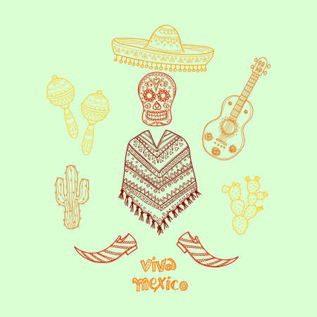 poncho: Set of Mexico related hand drawn icons including maracas, poncho, cactuses and others. Doodle vector Mexico related collection Illustration