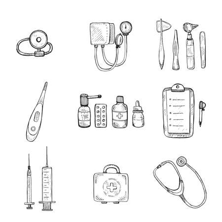 medical equipment: Medical set including equipment , medical tools and drugs. Vector hand drawn medical collection