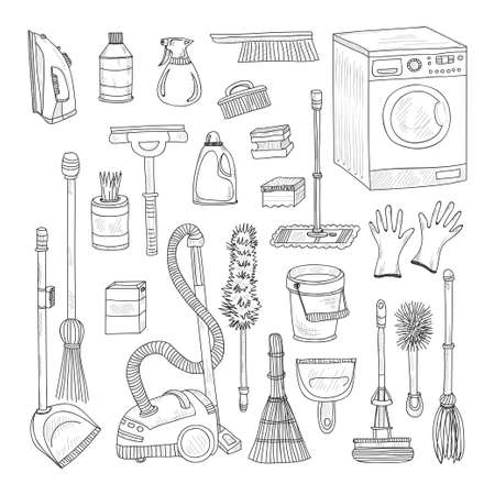 Set of cute hand drawn house cleaning tools. cleaning collection