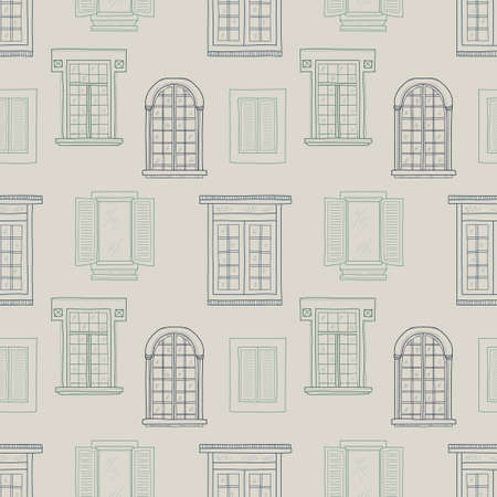 window pane: Seamless pattern with cute hand drawn different types of windows
