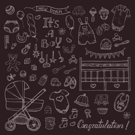 Big set of cute hand drawn baby care things, clothes and toys for baby boy.