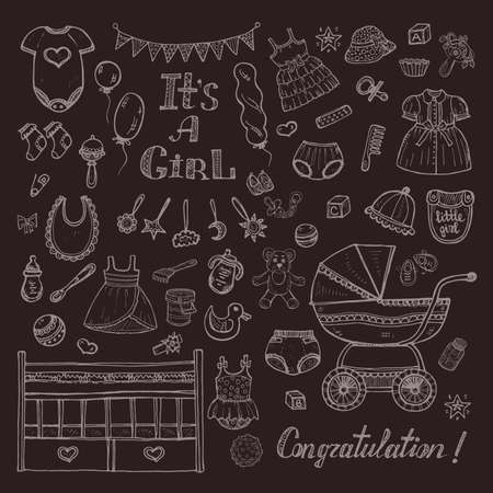 new born baby: Big set of cute hand drawn baby care things, clothes and toys for baby girl. Illustration