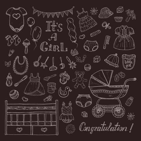 teteros: Gran conjunto de lindo dibujado mano del cuidado del bebé cosas, ropa y juguetes para el bebé. Vectores