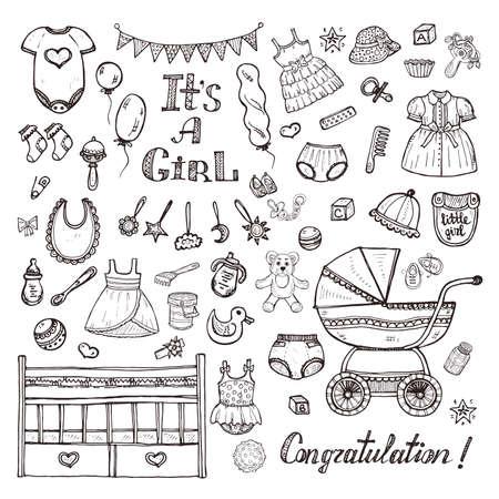 Gran conjunto de lindo dibujado mano del cuidado del bebé cosas, ropa y juguetes para el bebé.