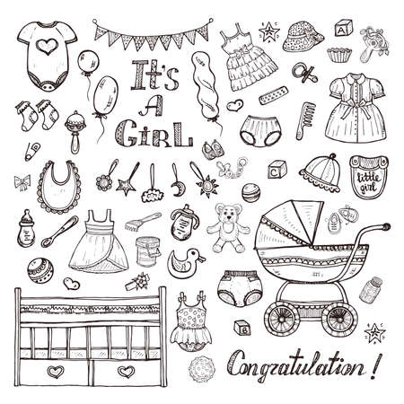 Grand ensemble de choses, vêtements et jouets de soin de bébé mignon dessinés à la main pour la petite fille.