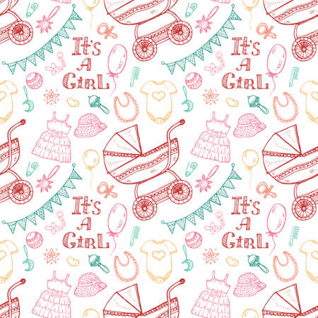 baby girl: Seamless pattern with cute hand drawn baby care things, clothes and toys for  baby girl. Newborn baby collection. Illustration