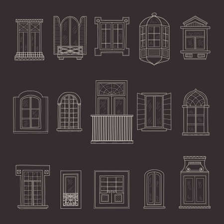 panes: Set of cute hand drawn windows including 15 different types. Vintage windows collection